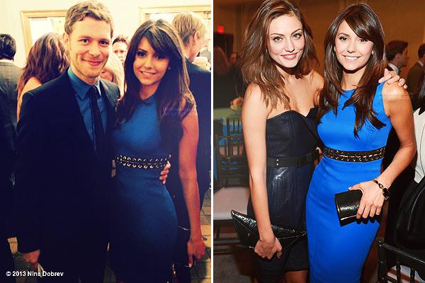 16.05.2013 : Nina s'est rendue à l'événement annuel « CW Networks Upfronts » qui a eu lieu à New-York.     Ian était lui aussi de la partie. Côté tenue, la belle portée une robe Versace et des chaussures de chez Rupert Sanderson.
