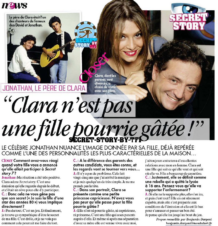 Secret story 7: Clara racont�e par son p�re Jonathan !